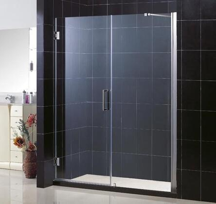 DreamLine SHDR-20587210 Unidoor Frameless Hinged Shower Door With Reversible For Right Or Left Door Opening, Self-Closing Solid Brass Wall Mounted Hinges (5 Degree Offset) & In