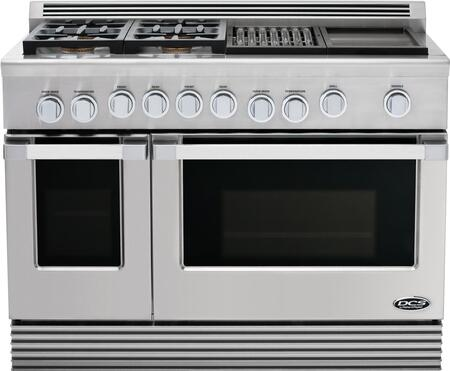 "DCS RDU484GGN 48"" Professional Series Natural Gas Freestanding Range with Sealed Burner Cooktop, 4.7 cu. ft. Primary Oven Capacity, in Stainless Steel"