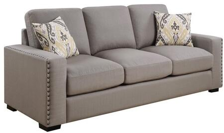 """Donny Osmond Home Rosanna Collection 91"""" Sofa with Track Arms, Reversible Cushions, Nailhead Trim, Espresso Solid Wood Legs and Linen-Like Fabric Upholstery in Color"""