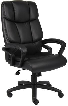 """Boss B870 45"""" NTR Executive Chair with Waterfall Seat Design, Upright Looking Position, Adjustable Tilt Tension and Seat Height Adjustment in Black Top Grain Leather"""