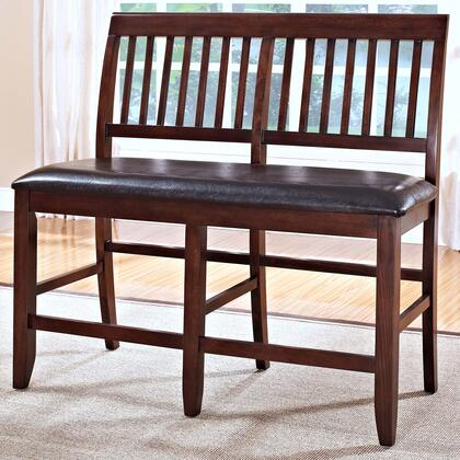 "New Classic Home Furnishings 45-10-25 Kaylee 44"" Counter Height Bench with Padded Microfiber Web Seat Cushions, Tapered Legs, Hardwood Solids and Veneers, in"
