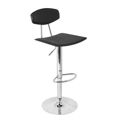 LumiSource BSTWVECTORBK Vector Series Residential Bycast Leather Upholstered Bar Stool