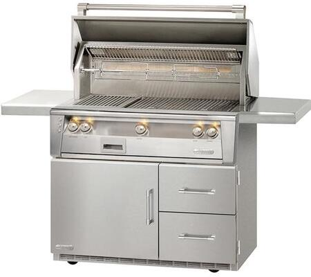 "Alfresco ALXE-42RFG-LP 42"" Standard Grill Liquid Propane On Refrigerated Base in Stainless Steel"