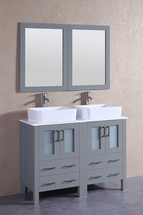 """Bosconi AGR224RCX XX"""" Double Vanity with Phoenix Stone Top, Rectangle White Ceramic Vessel Sink, F-S02 Faucet, Mirror, 4 Doors and X Drawers in Grey"""