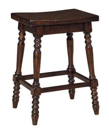 Signature Design by Ashley Moriann D608-1 High Backless Wood Seat Barstool with Turned Legs, Contour Shaped Saddle Seat and Footrest in Dark Brown Finish