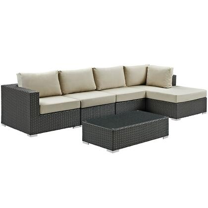 Modway Sojourn Collection EEI-1886-CHC- 5-Piece Outdoor Patio Sunbrella Sectional Set with Coffee Table, Corner Section, Right Arm Chaise and 2 Armless Chairs in