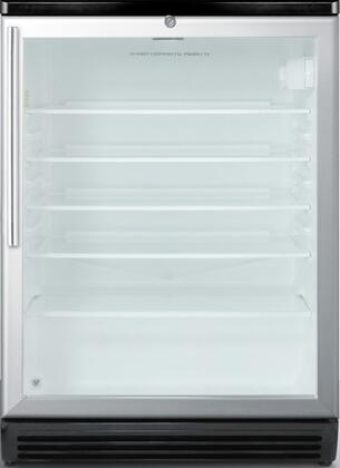 "Summit SCR600BLHVx 24"" Commercial Compact Refrigerator with 5.5 cu. ft. Capacity, Factory Installed Lock, Automatic Defrost, Adjustable Glass Shelves and Double Pane Tempered Glass Door with Aluminum Trim"