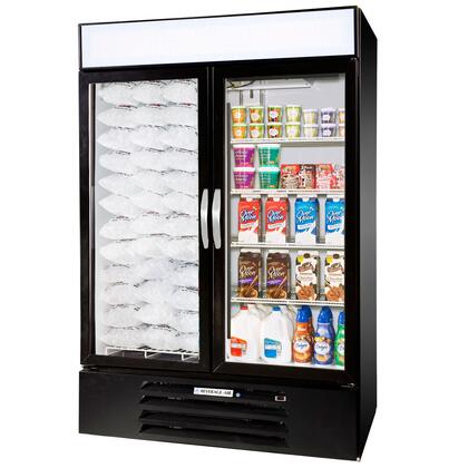 """Beverage-Air MMRF49-1 MarketMax 52"""" Two Section Glass Door Reach-In Dual Merchandising Refrigerator/Freezer with LED Lighting, 49 cu.ft. Capacity, [Color] Exterior and Bottom Mounted Compressor"""