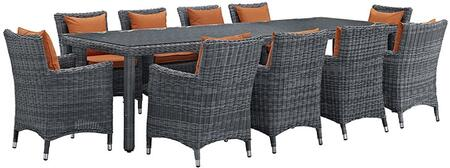 Modway Summon Collection 11 PC Outdoor Patio Dining Set with Synthetic Rattan Weave Material, Powder Coated Aluminum Frame and   Sunbrella  Fabric Cushions in