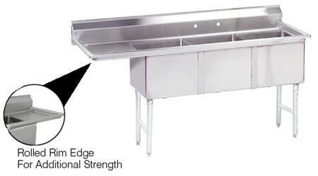 """Advance Tabco FC-3-1818 Three-Compartment Fabricated Sink with 18"""" x 18"""" Bowl and Backsplash in Stainless Steel"""