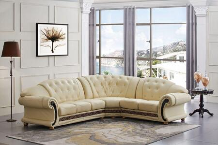 """ESF Versachi Collection I1702X 105/120"""" Sectional with Leather in Beige"""