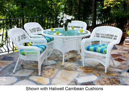 Tortuga PSD-WHX Portside 5 Piece Dining Set in White with X Cushions