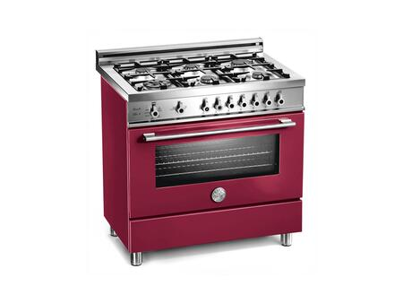 Bertazzoni X366GGVVILP Professional Series Gas Freestanding Range with Sealed Burner Cooktop, 3.6 cu. ft. Primary Oven Capacity, Storage in Vino