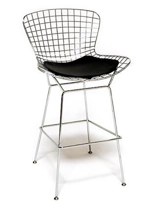 Fine Mod Imports FMI2126BLACK Wire Series Counter Height Leather Stainless Steel Frame Accent Chair