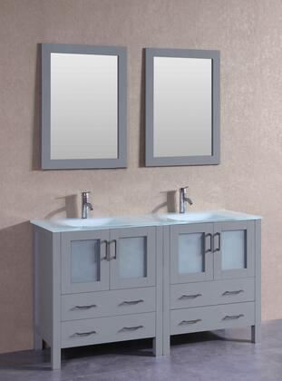 """Bosconi AGR230EWGUX XX"""" Double Vanity with Clear Tempered Glass Top, Integrated Sink, F-S01 Faucet, Mirror, 4 Doors and X Drawers in Grey"""