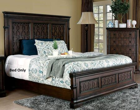 Furniture of America Minerva CM7839X Bed with Transitional Style, Tall Panel Headboard and Wood Inlay Design in Walnut