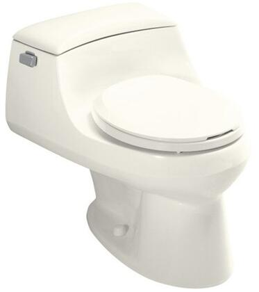 Kohler K-3467- San Raphael one-piece round-front toilet with concealed trapway, French Curve toilet seat and trip lever: