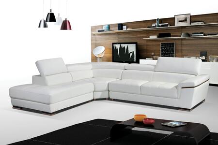"ESF I17278I17279 102.5-123.5"" 2383 Sectional with Left Chase and Leather in White"