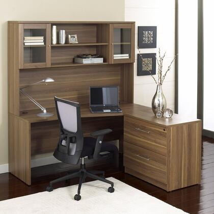 Unique Furniture 1C100001RXX Corner L Shaped Desk - Rigth Side with Hutch and Lateral File