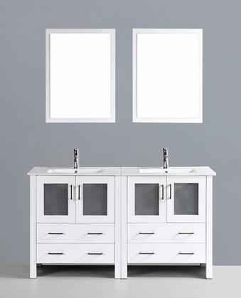 "Bosconi AW230UXX XX"" Double Vanity with 4 Soft Closing Drawers, 4 Soft Closing Doors, Mirror Included and Silver Hardware in White"