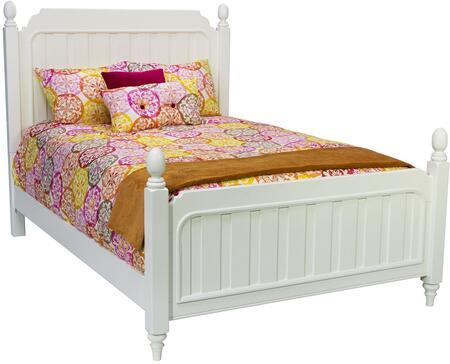 Samuel Lawrence Summertime Collection 8466-BR-KX-PBED Size Poster Bed with Decorative Finials, Short Turned Legs and Wood Construction in White