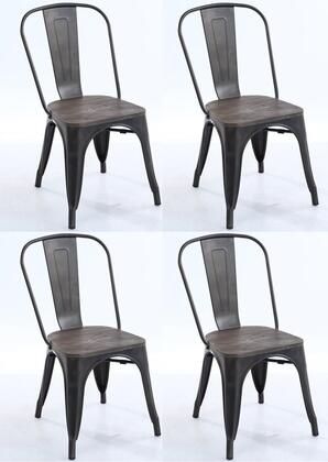 EdgeMod EM112ELMBRZX4 Trattoria Series Modern Metal Frame Dining Room Chair