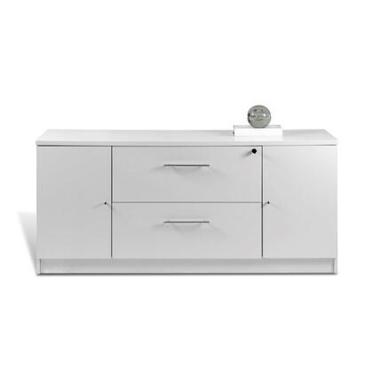 "Unique Furniture 163202WH 63"" Wood Modern File Cabinet"