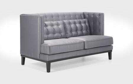 Armen Living LC10062SIL Noho Series  with Satin Frame Loveseat