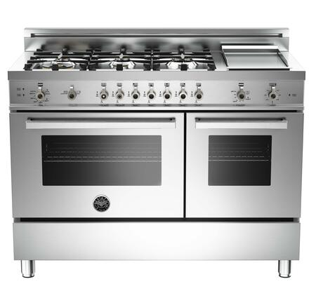"Bertazzoni PRO486GGASXLP 48"" Professional Series Gas Freestanding Range with Sealed Burner Cooktop, 3.6 cu. ft. Primary Oven Capacity, Storage in Stainless Steel"
