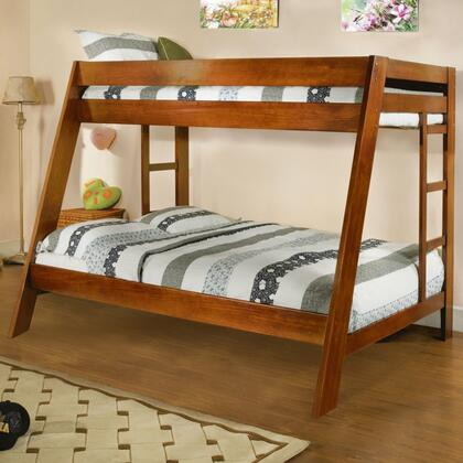 Furniture of America Arizona Collection Twin Over Full Bunk Bed with Both Sides Ladder, Top and Bottom Slats, Solid Wood and Wood Veneers Construction in