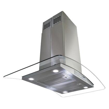 "Golden Vantage GIRAIS3BR36 36"" Island Mount Range Hood with 870 CFM, 65 dB, Innovative Touch, LED Lighting, 3 Fan Speed, Stainless Steel Baffle Filter, Wireless Control and X: Stainless Steel"