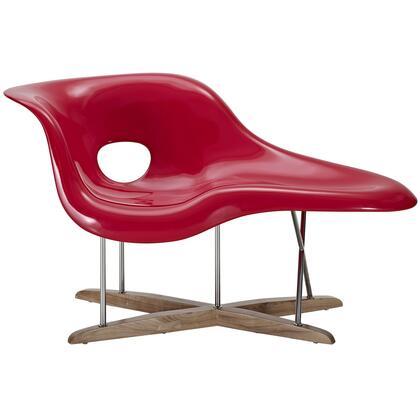Modway EEI526RED Ameoba Series Modern Not Upholstered Chaise Lounge