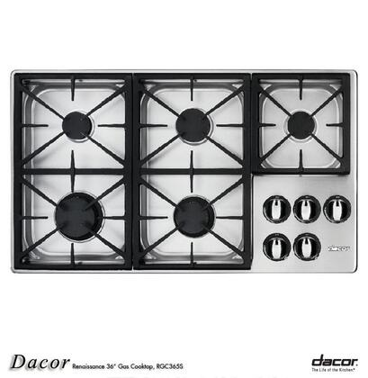 Dacor RGC365SLP Renaissance Series Liquid Propane Sealed Burner Style Cooktop with 5 Burners  |Appliances Connection