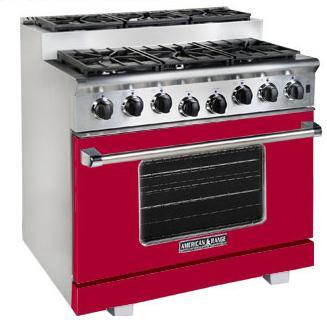 American Range ARR366SBR Titan Series Gas Freestanding Range with Sealed Burner Cooktop, 5.6 cu. ft. Primary Oven Capacity, in Red