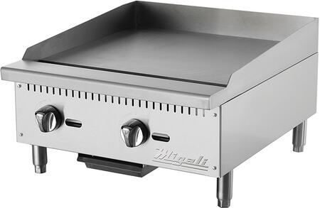 Migali CG Competitor Series Commercial Natural Gas Griddle with Burners, Manual Ignition, Stainless Steel Construction, and Removable Waste Tray, in Stainless Steel