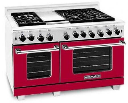American Range ARR484GDGRLBR Heritage Classic Series Liquid Propane Freestanding Range with Sealed Burner Cooktop, 4.8 cu. ft. Primary Oven Capacity, in Red