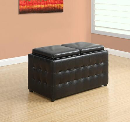 "Monarch I 892X 32"" Ottoman with Two Flip Top Lids, Large Interior Storage and Leather"