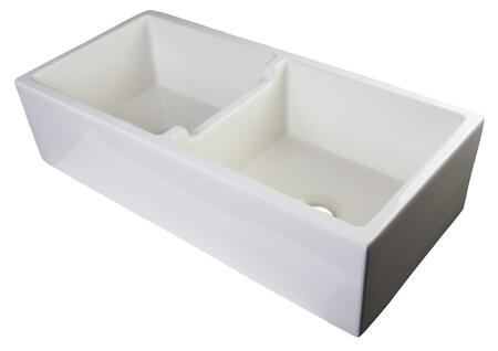 "Alfi AB3918DB-XX 40"" Smooth Apron Thick Wall Double Bowl Farm Sink with Fireclay in"