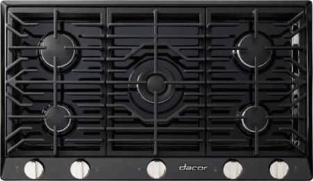 """Dacor RNCT365G 36"""" Renaissance Gas Cooktop with 5 Sealed Burners, Die Cast Knobs, Perma-Flame Technology, Continuous Grates, and Smart Flame Technology:"""
