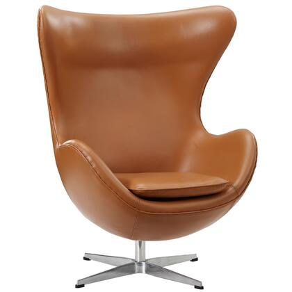 Modway EEI528TER Lounge Leather Fiberglass Frame Accent Chair