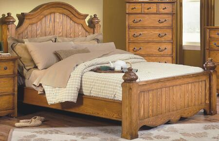 New Classic Home Furnishings 4431-B Hailey Poster Bed with Detailed Molding, Bonnet Top, Traditional Accents, Turn Post Caps, Ash and Oak Solids, in Toffee