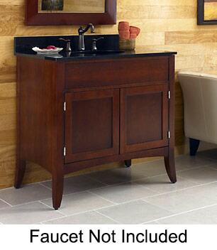 "Kaco Metro Collection 385-3600 36"" Sink Vanity with Flared Legs, 2 Doors, Brushed Nickel Hardware and Water Resistant Brown Cherry Finish with Granite Top"