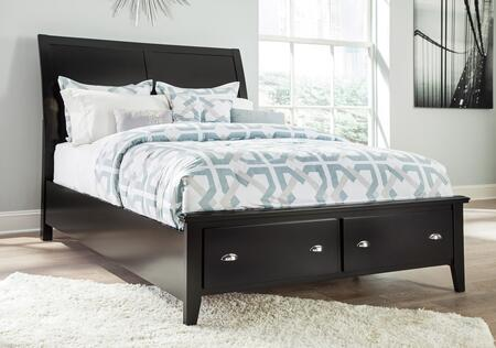 Signature Design by Ashley Braflin B591S Size Storage Panel Bed with Sleigh Headboard, Storage Rails and Footboard with Underbed Drawers in Black Finish