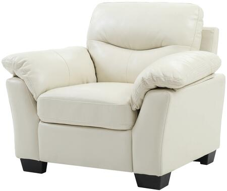 Glory Furniture G651AC Faux Leather Armchair in Pearl