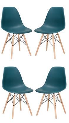 EdgeMod EM105NATTEAX4 Vortex Series Modern Wood Frame Dining Room Chair