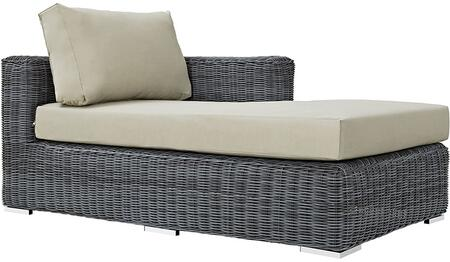 """Modway Summon EEI1873GRY 63.5"""" Outdoor Patio Sunbrella Right Arm Chaise with Stainless Steel Legs, Two-Tone Synthetic Rattan Weave, All-Weather Cushion, UV and Water Resistant in Canvas Color"""