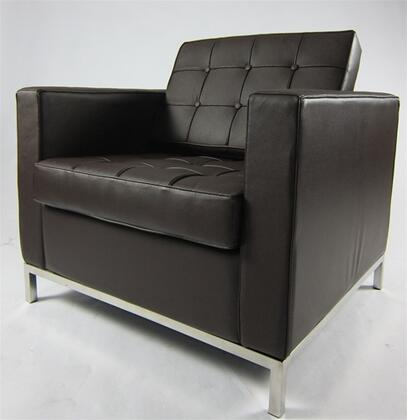 Fine Mod Imports FMI2201BROWN Button Series Leather Armchair with Stainless Steel Frame in Brown