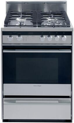 Fisher Paykel 88484  Gas Freestanding Range with Sealed Burner Cooktop, 2.5 cu. ft. Primary Oven Capacity, Storage in Stainless Steel