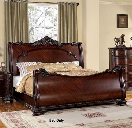 Furniture of America Bellefonte CM7277X Bed with Luxurious Baroque Style, Sleigh Bed intricate Accents, Solid Wood and Wood Veneer in Brown Cherry