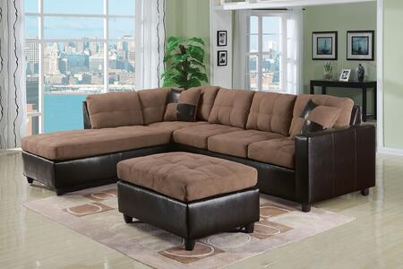 Acme Furniture 513RS Milano Reversible Sectional with Chaise, 3 Seater Sofa, 2 Pillows, Pocket Coil Seating, Fabric and Espresso Bycast PU Leather Upholstery in